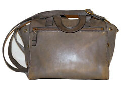 FOSSIL Small Patina Gray Leather 8 x 9 Satchel Handbag Shoulder Bag $59.99