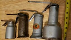 4 Vintage Oil Cans Oilers Eagle No. 33 Finger Pump Fixed Spout Made In Usa
