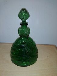 Retro Decanter Empoli Italy Green Lady Crinoline Fan Gone With The Wind Style