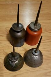 4 Vintage Eagle Made In Usa Thumb Pump Oil Cans