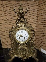 Antique Leroy Paris French Rococo Style Ornate Mantle Clock 19th Century