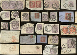 Ireland 1800's Postmarks On Piece Or Part Cover Gb Qv Stamps Etc ...each Priced