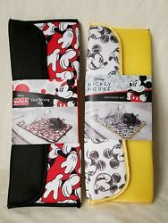 Disney Mickey Mouse 2 Pack Dish Drying Mats Nwt Red Retro And Sketched Yellow