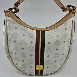 AUTHENTIC MCM White Visetos Shoulder Bag Hobo Bag $139.99