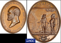 1881 Garfield Indian Peace Medal Ip-44 Prucha-55 Ngc Ms64 Rare Oval Variety