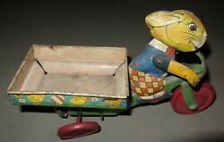Antique Easter Rabbit Wind Up Tricycle Tin Toy .1930and039s J. Chein And Co