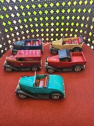 Vintage 1950s Made In Japan Cragstan Tin Toy Friction Cars Lot Of 5 Pre Owned A1