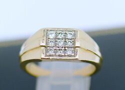 Vintage Jewellery Solid Gold Band Natural Diamonds Antique Jewerly Size 10.5