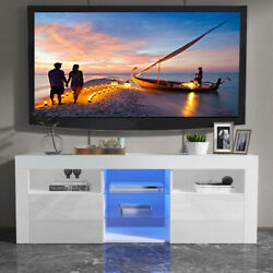 High Gloss White Led Tv Stand Unit Cabinet 2 Drawers+5 Shelves Console Furniture