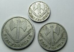 3 Coins France 50 Cent 1 And 2 Franc 1942 1943 Vichy French State - Nazi Occupied