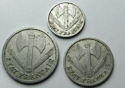 3 Coins France 50 Cent, 1 And 2 Franc 1942 1943 Vichy French State - Nazi Occupied