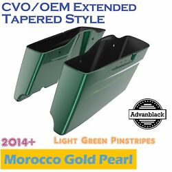 Deep Jade Pearl Cvo Tapered Stretched Saddlebags Pinstripes For 2014+ Harley