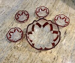 Vintage Cut Glass Bowl Set. Ruby Red. One Big Bowl And 4 Small Bowls. Set Of 5