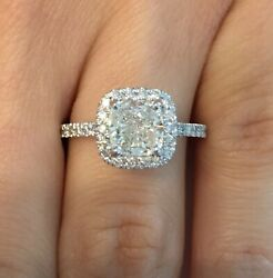 2.63 Ct Vs1/f Cushion Cut Diamond Halo Solitaire Engagement Ring 14k White Gold