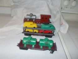 3 Marx Deluxe Plastic Cars,cities Service, Nyc Track Clean,auto Hauler