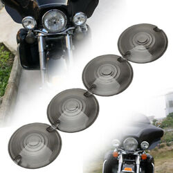 4x Smoked Lens Turn Signal Light Flat Lens Covers For Harley Davidson Motorcycle