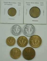 French West Africa 9 Coins 1944-1957 Complete Set All Unc