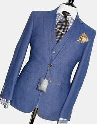 Mens Gives And Hawkes Bespoke Custom Make 3 Piece Royal Blue Tweed Suit40r W34