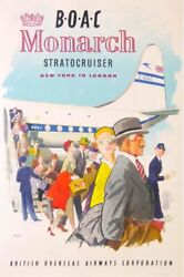 Golay Mary Gof Boac Monarch Stratocruiser New York To London 1951 Vintage Poster