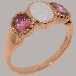 18k Rose Gold Natural Opal And Pink Tourmaline Womens Trilogy Ring