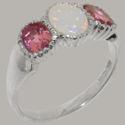14k White Gold Natural Opal And Pink Tourmaline Womens Trilogy Ring