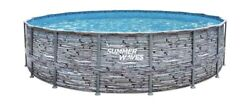 Summer Waves 18ft X 48in Elite Stone Swimming Pool W/ Filter Pump Cover Ladder
