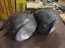 Vintage Pair Guide Headlight Rat Rod Custom 32 33 34 36 37 Ford Chevy Plymouth
