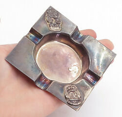 925 Sterling Silver - Vintage Antique Oxidized Statue Detail Ashtray - Tr1210
