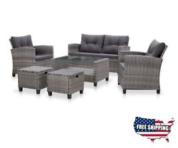 Outdoor Rattan Sofa Patio Furniture Clearance Sets Garden Wicker Chair Table 6pc