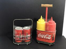 Coca Cola Retro Set Salt And Pepper Shakers And Mustard Ketchup New