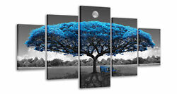 Blue and Black Canvas Art Blue Tree Wall Paintings for Living Room Dining Room