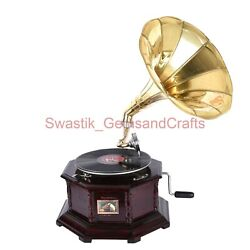 Fully Functional Phonograph Wooden Antique Style Gramophone 78 Rpm Record Player