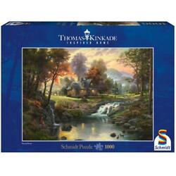 Schmidt Puzzle 1000 Pieces Thomas Kinkade Wooden House Am Bach Adult Jigsaw