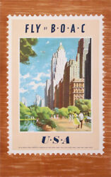 Xenia Fly By Boac Usa New York Chicago 1952 Vintage Poster