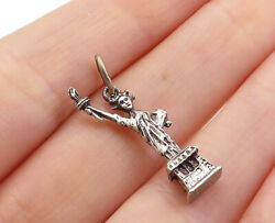 925 Sterling Silver - Vintage Petite Sculpted Statue Of Liberty Pendant - Pt3919