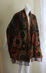 Chico's 99 Wool Art-to-wear Fabulous Funky Shawl Wrap Scarf Colorful Lagenlook