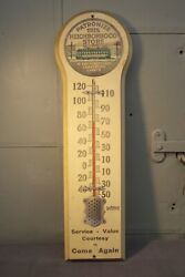 Rare Antique Local Neighborhood Business Trolley Wooden Advertising Thermometer