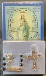 Black Facet Rosary And History And Instruction Booklet Of Prayers