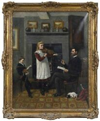 Antique Painting, Oil, Canvas,the Violin Lesson, Signed, T. Holroyd, 18-1900's