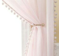 Miulee Linen Textured 96 Inches Length Pink Window Sheer Curtains With Pom Pom