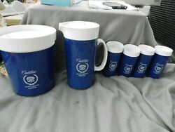 Vintage Thermo-serv Cadillac Craftsmanand039s Ice Bucketpitcherglasses Estate Find