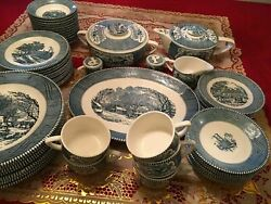 Rare Pieces Antique/vintage Currier And Ives Bleu Dishes Set Of 57, Royal Usa