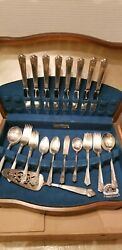 Wm. Rogers And Sons 43 Piece Silver Plated Flatware Set W/ Wood Storage Case