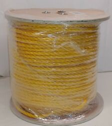 3/8 X 600and039 Yellow 3-strand Twisted Polypropylene Rope Poly Boat Dock Work Tree