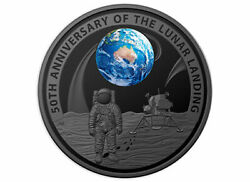 2019 50th Anni. Of The Lunar Landing 5 Nickel Plated Silver Proof Domed Coin