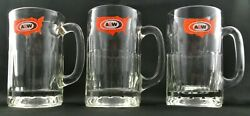 Vintage 1972 A And W Root Beer Heavy Glass Mugs 14 Ounce Usa Map Logo Set Of 3