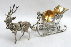 Classic Vintage Silver Old World German Reindeer And Sleigh