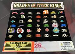 Vintage Vending Glitter Ring Display Gumball Prize Arcade 42 Rings