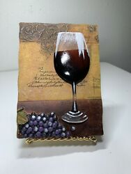 Red Wine Purple Grapes Wall Plaque By Carlton Resin 3d