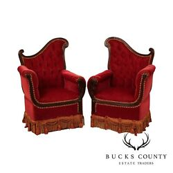 Hollywood Regency 1940and039s Red Tufted Pair Mahogany Fireside Armchairs
